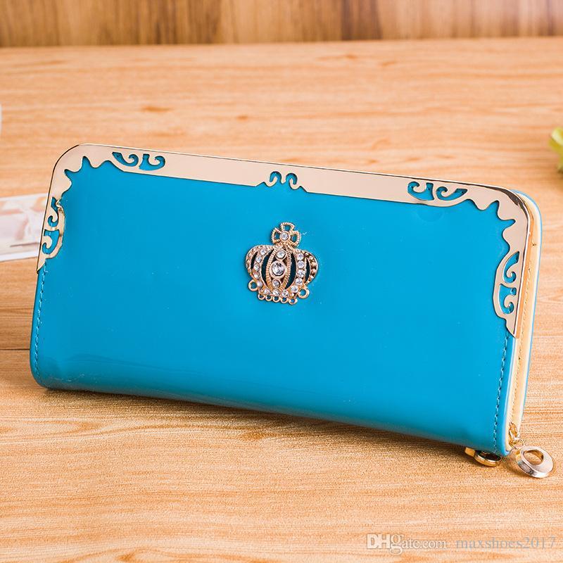 2017 Frauen PU Leder Brieftasche Koreanische Version Herbst Mode Neue Crown Print Damen Reißverschluss Multifunktionale Lange Clutch Taschen
