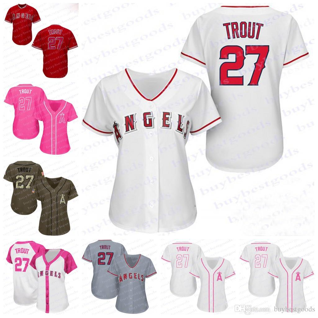 d50c45f469d ... Stitched MLB Jersey 2017 Womens Los Angeles Angels Of Anaheim 27 Mike  Trout Baseball Jerseys Ladies Shirt Cool Base Cool Base Mens Flexbase ...