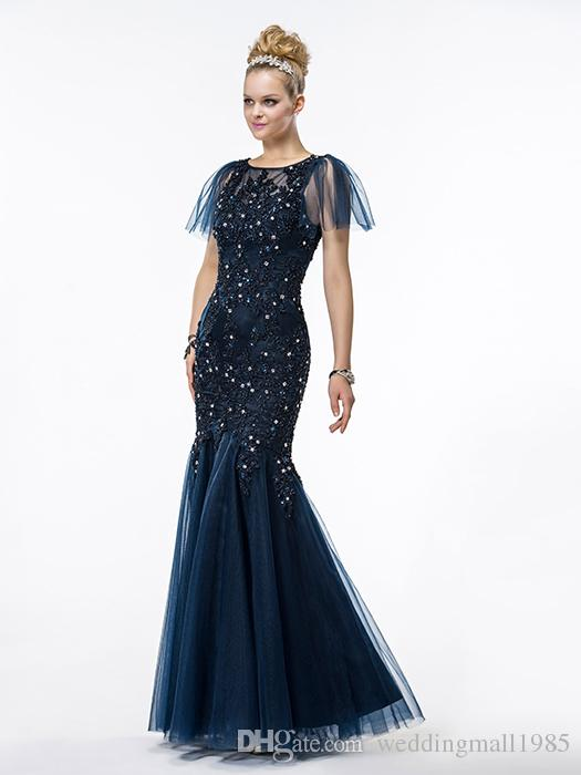 2016 new high collar jacket official Mother's Dresses lace applique luxurious Crystal Rhinestone Mermaid Dress Mother Evening Gown plus size