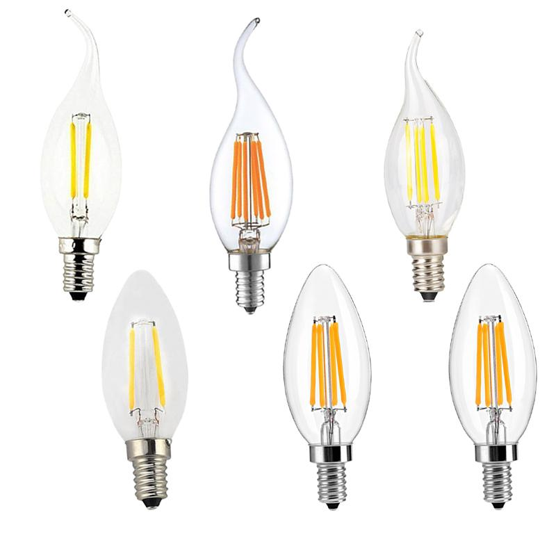 Filament Candle Led Bulbs Chandelier E12 E14 E27 Base Lamp C35 Torpedo Shape Bullet Top Candelabra Light Bulb Cob Flame Tip Lightbulbs