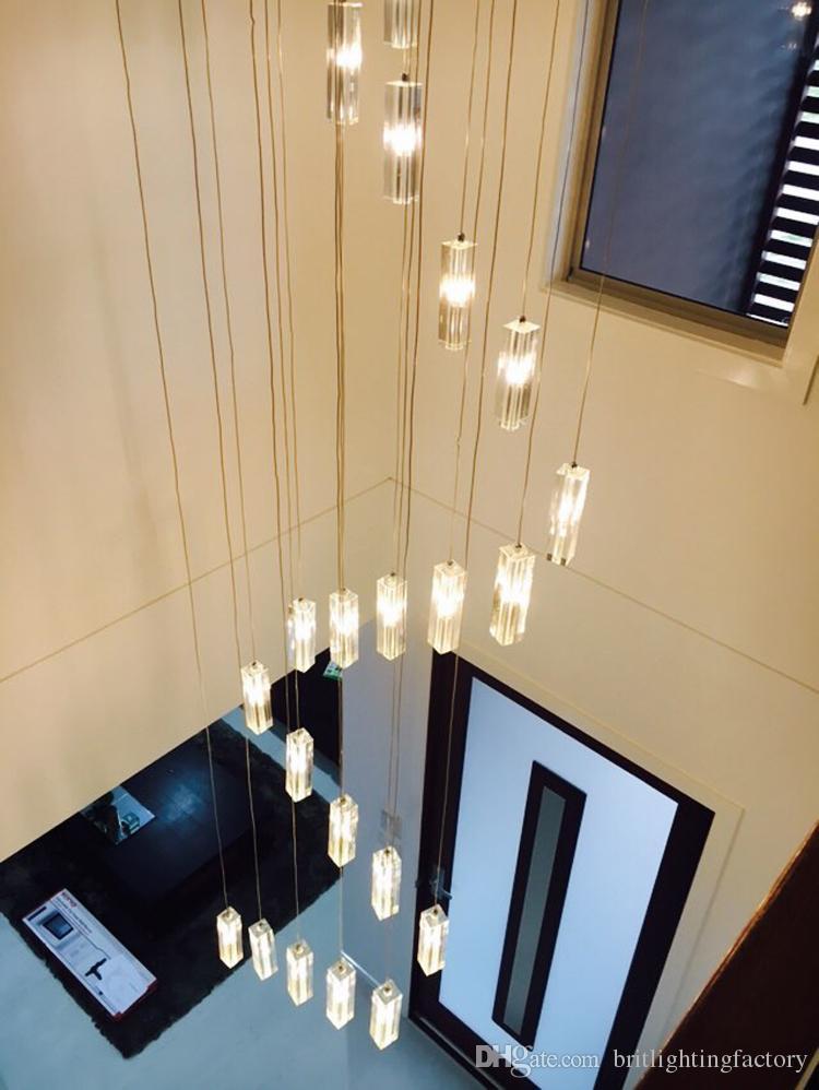 Escalera de hotel Chandelier Lighting Modern Iluminación Fijo Cuadrado Lámpara de lluvia Gota de lluvia Iluminación Escalera de espiral Chandeliers de cristal de acero inoxidable