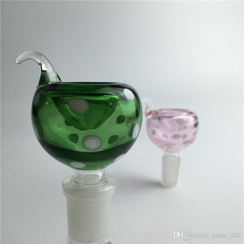 pyrex glass bowl with 14mm 18mm male colorful glass bowl and handle pink green blue black for oil rig glass bong