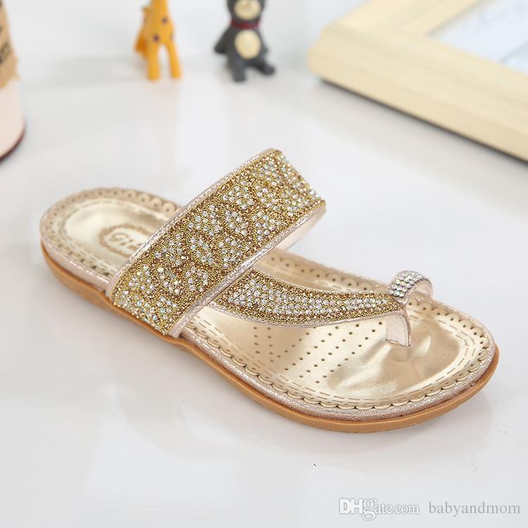2016 New Hot Fashion Summer Children Gold Silver Boho Sandals Big Girls Princess Anti-Skid Flip-flop Slipper