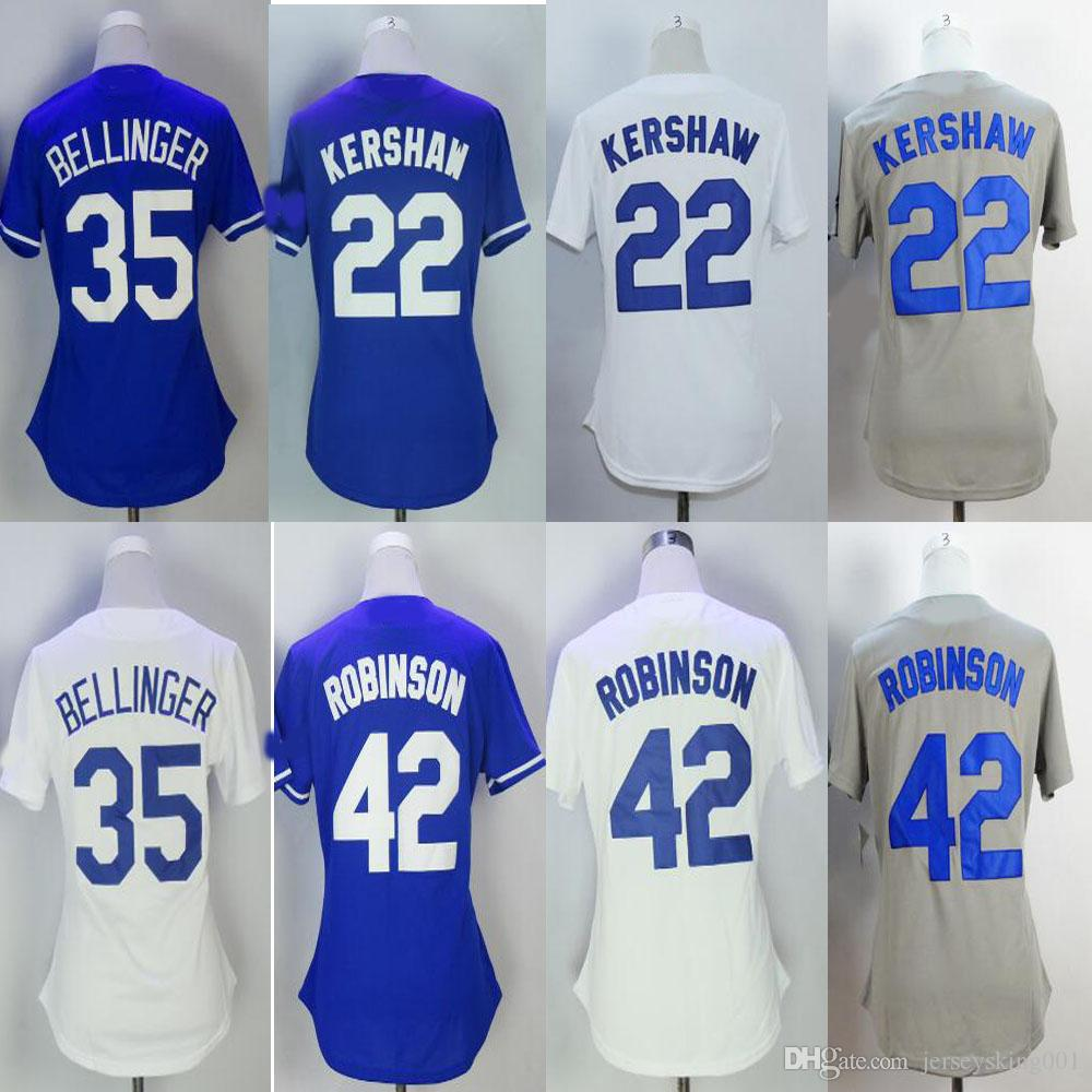 2019 New Women S Embroidery Jersey  22 Clayton Kershaw  35 Cody Bellinger  Blue White Grey Baseball Jerseys Free Drop Shipping From Jerseysking001 cc0137b1169