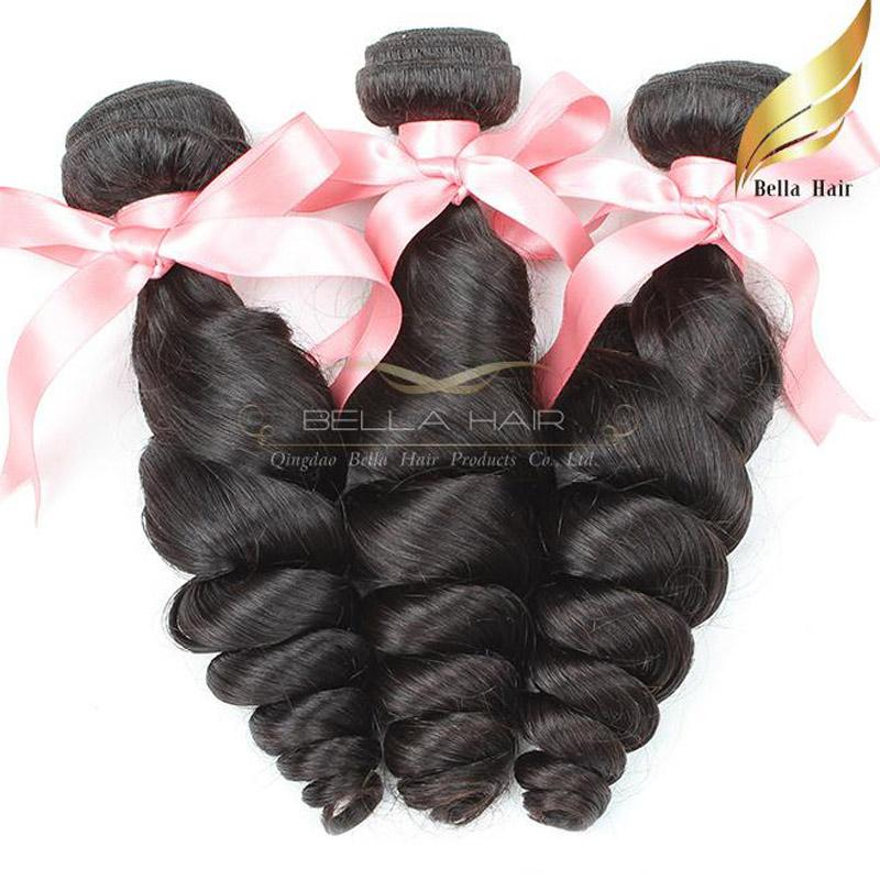 Peruwiańska luźna fala Ludzki przedłużenie włosów 1 lub 2 lub 3 sztuk / partia naturalny kolor Klasa 8A Nieprzetworzone włosy 8-30 cal Darmowa wysyłka