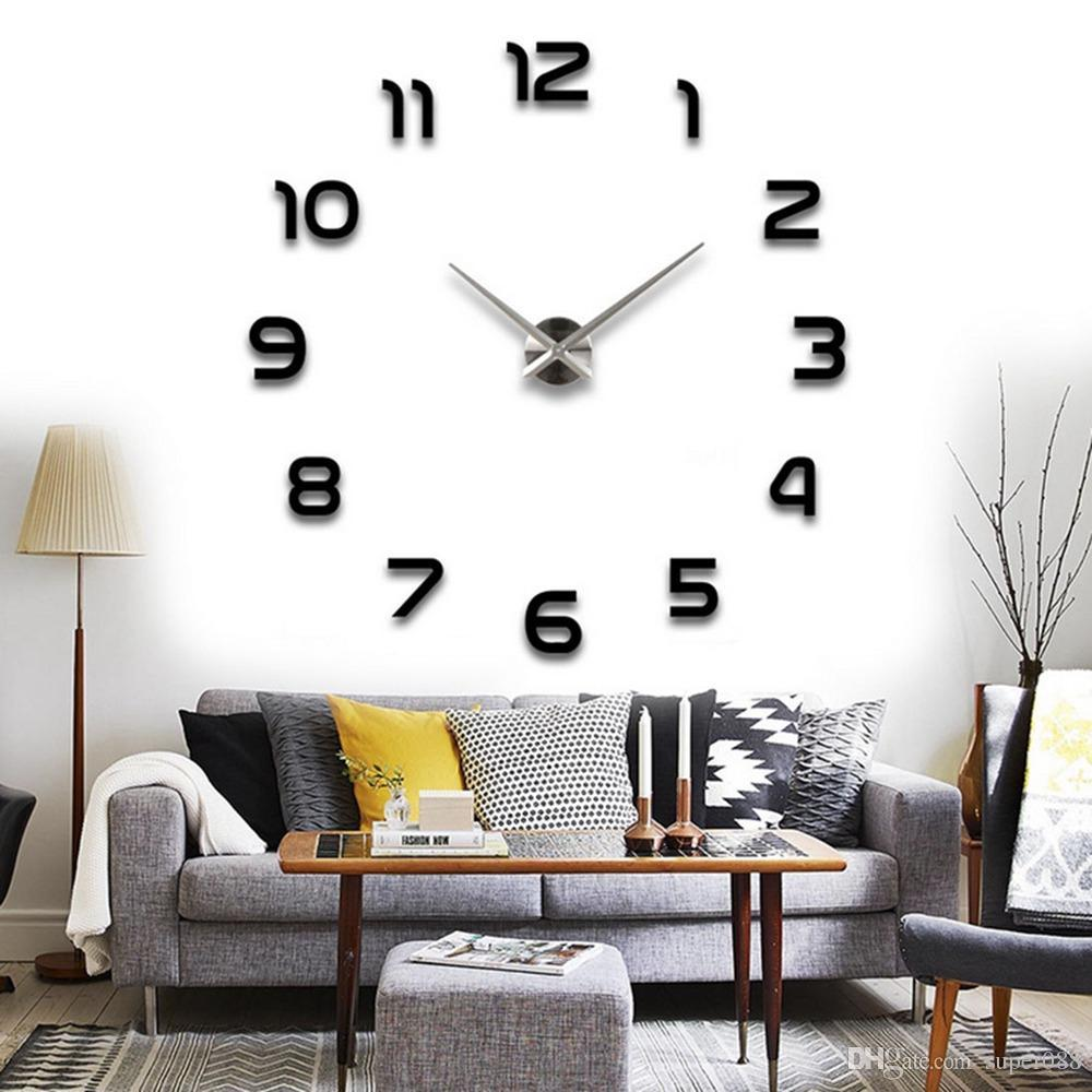 Modern Arabic Numbers 3d Frameless Large Wall Clock Style
