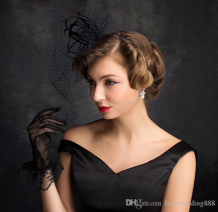 Modern Charming Black Ladies Hats For Evening Party Prom Special Occasion New 2017 Net Yarn Gauze Feather Veil Hat