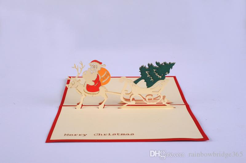3d christmas greeting cards handmade custom retro castle christmas gift postcard birthday blessing card in store free shipping - Custom Greeting Cards