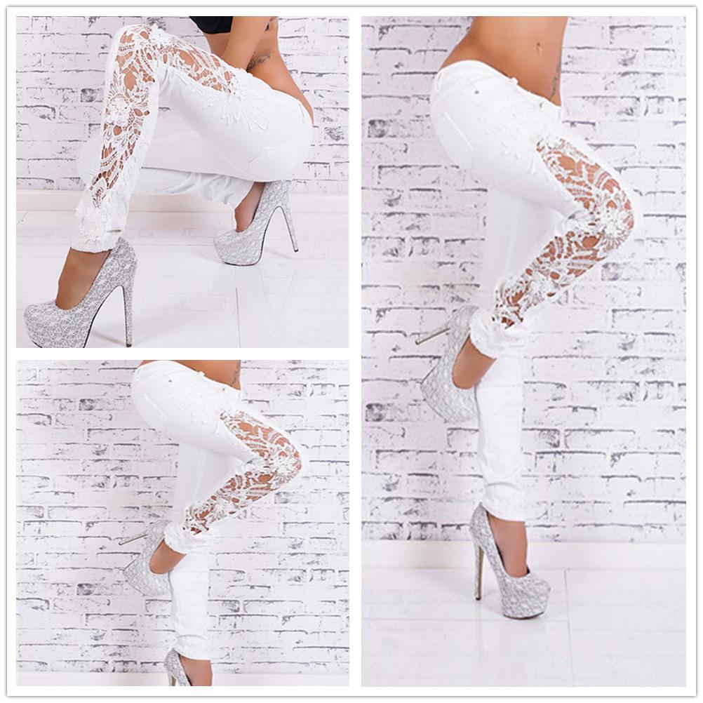 183b086666b 2019 Women Lace Ripped Skinny Jeans 2015 Hot Autumn Spliced Crochet Hollow  Out Jean Taille Haute Sexy White Pencil Lace Jeans Pants From Ellen0508