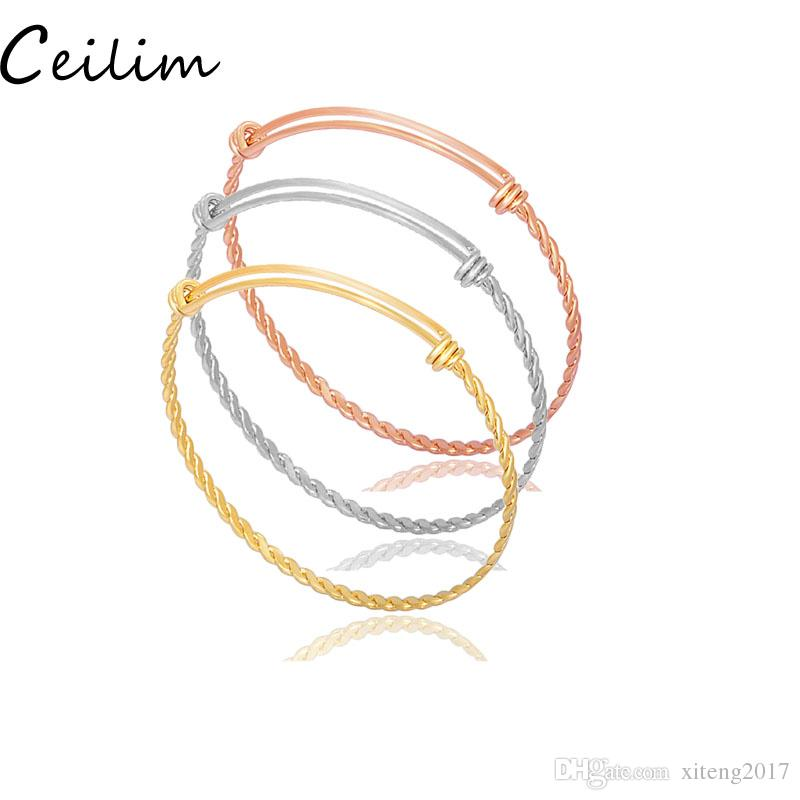 b6699460ef7ec Fashion designer jewelry twisted pattern 316L stainless steel cable wire  bangle DIY adjustable expandable bracelet rose gold & silver new