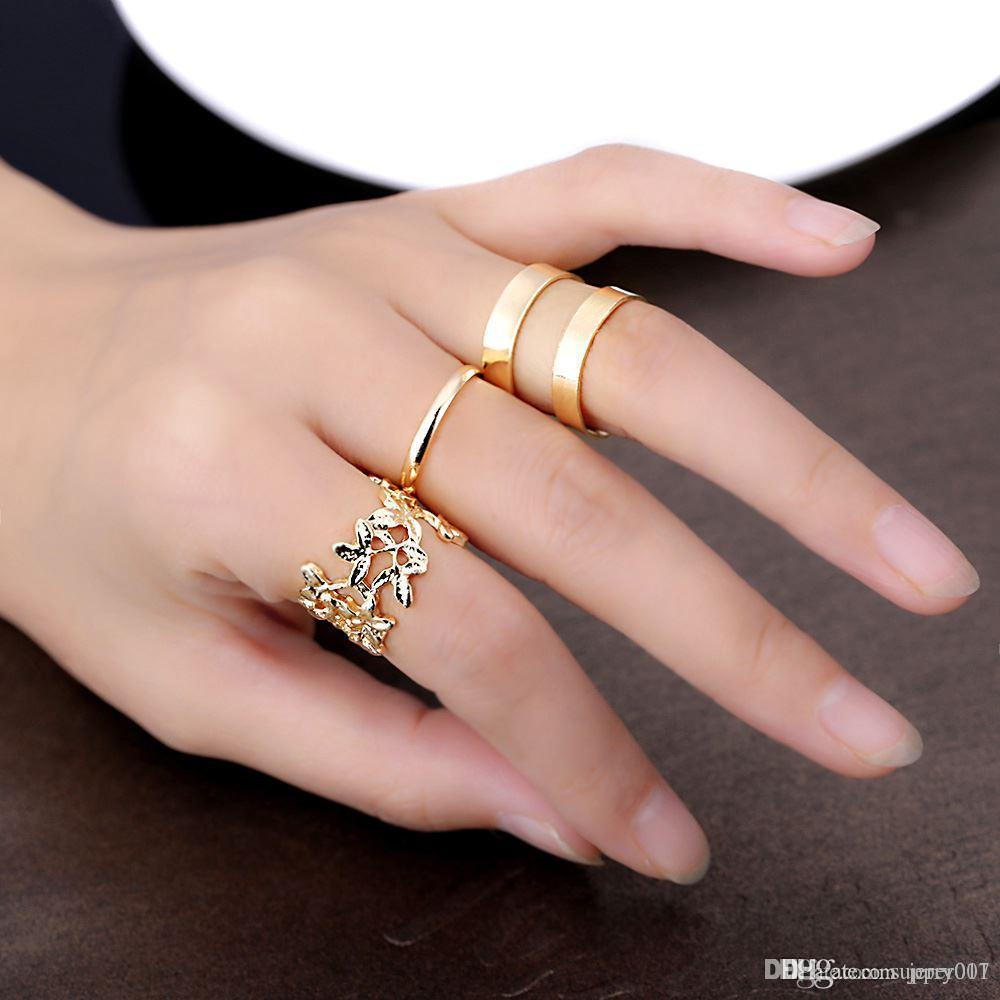 8207aee8a3 Fashion Silver/Gold Plated Jewelry Women Knuckle Rings With Hollow ...