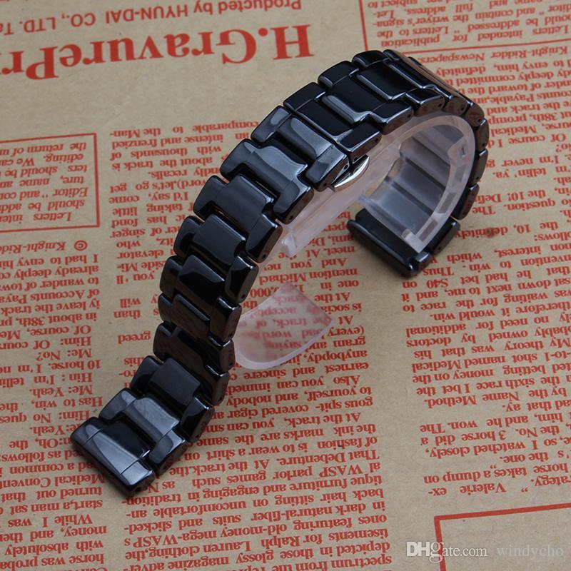 Nuevo Negro Blanco correas de reloj de cerámica hombres mujeres ver accesorios correa de pulsera banda 16 16mm 18mm 20mm correa de reloj de cerámica hebilla de metal