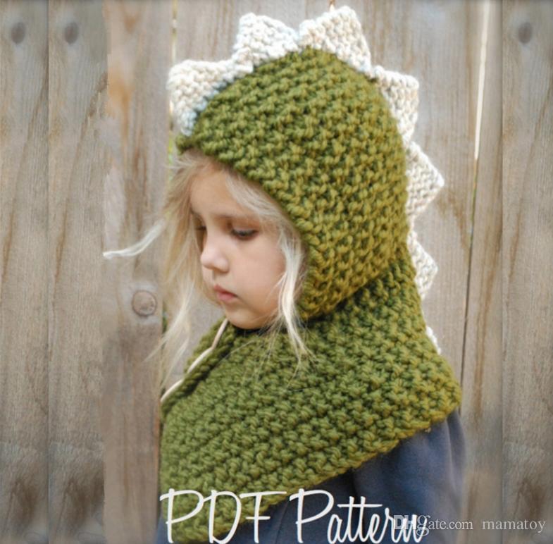 Kids Winter Knitted Hats Scarf kids Dinosaur Bear Crochet caps children warm hadmade beanie girls cartoon animal shawl poncho capes for 2-8T