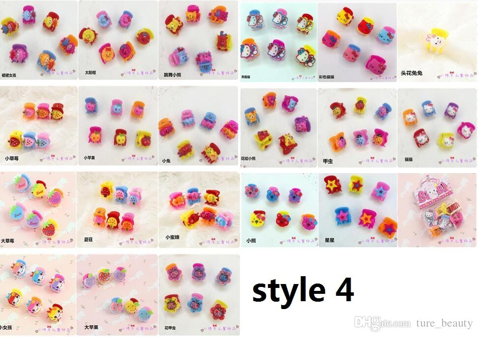 200 unids / mujeres niña pelo flequillo mini pequeña flor pelo garla clip horquilla flor mezcla coloreado accesorios de pelo
