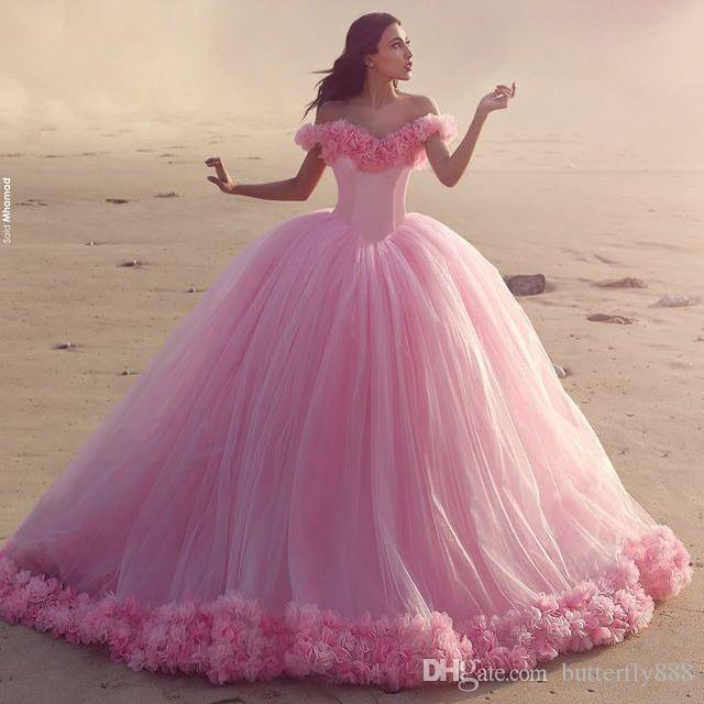 Compre Vestido De Bola Hinchado Rosa De Bebé Quinceanera Viste 2016 ...