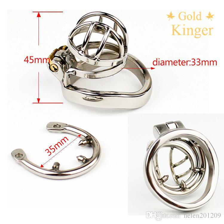 acciaio inox 316 di cazzo Super piccola femminuccia Cage Chastity con Anti-off dispositivo anello Bondage Fetish dispositivo pene anello A274-1