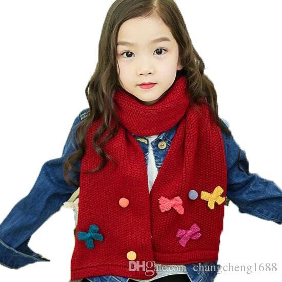 2018 Children Unisex Ribbed Knitted Scarf Butterfly Design Kids