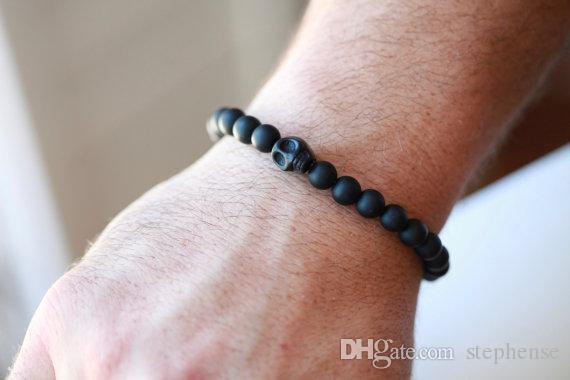 SN0046 Neue Design 2016 schädel 6mm schwarz onyx lapislazuli perlen elastische naturstein perlenarmband kostenloser versand