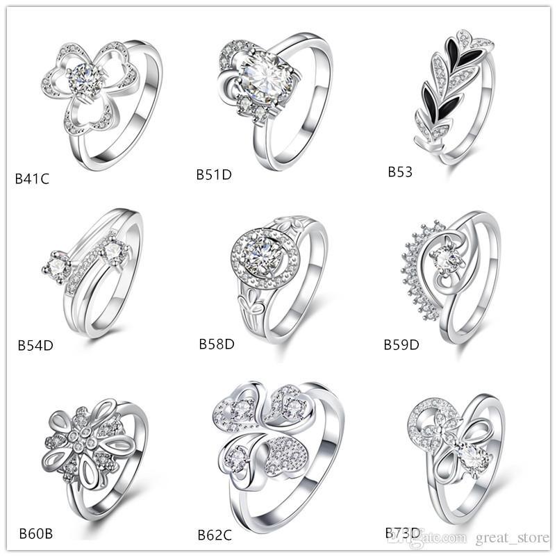 Snowflake Clover Blume weißen Edelstein 925 Silberring GTGR23, neue Ankunft Sterling Silber Ring 10 Stück gemischten Stil