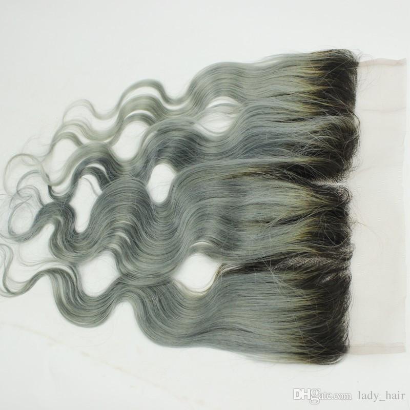 Pelo de Ombre gris plateado malasio Virgen con cierre frontal de encaje 13x4 Onda de cuerpo # 1B / Gris Pelo de dos tonos virgen 3 Bundles con frontal