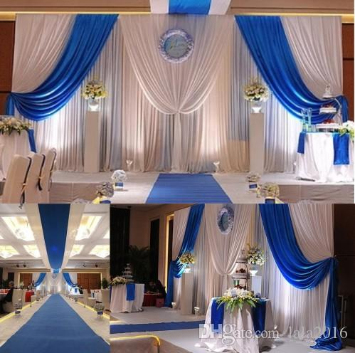 Dhl wedding backdrop curtains with royal blue swags wedding stage dhl wedding backdrop curtains with royal blue swags wedding stage decorations wedding props white color ice silk wedding backdrop 3m6m asian wedding junglespirit Image collections