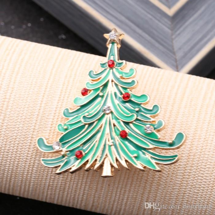 Christmas Star Tree Gold Brooch Rhinestone Brooches For Female Pins Women Wedding Scarf Pin Xmas Gift
