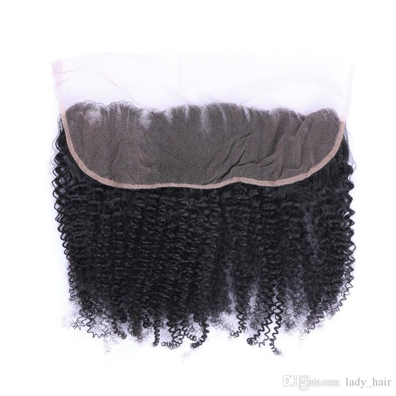 Afro verworrene lockige 13X4 Spitze Frontal Schließung gebleichte Knoten Unverarbeitete 100% reine brasilianische verworrene lockige volle Spitze Fontal Haarteile