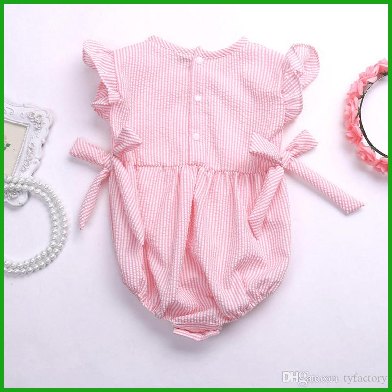 toddler baby boys girls rompers children jumpsuits pink grey color one-piece bodysuit bow striped kids clothing set
