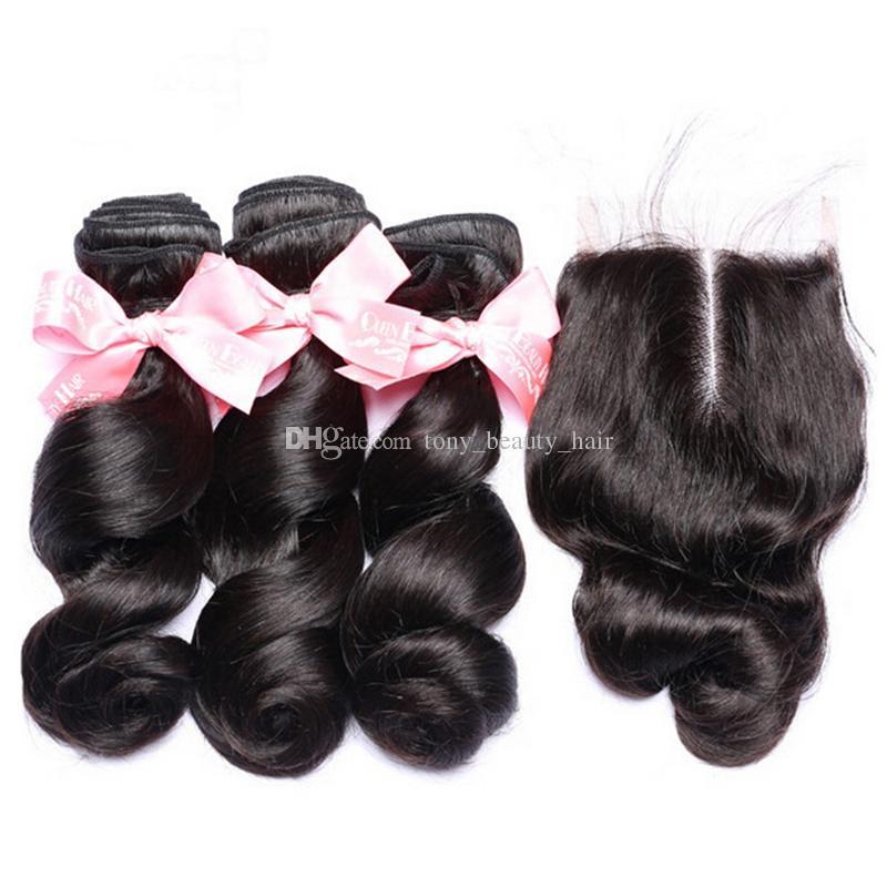 Brazillian Loose Wave con cierre de encaje Cierre de cabello humano brasileño 4X4 '' con paquetes de rizos sueltos con medio libre 3 cierres de partes