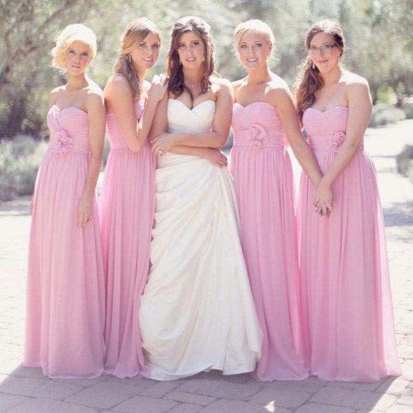 Baratos Long Beach 2016 vestidos de dama de rosa de verano formal del partido de largo los vestidos del vestido con Volantes una línea vestido de cuello cremallera en la espalda de la gasa