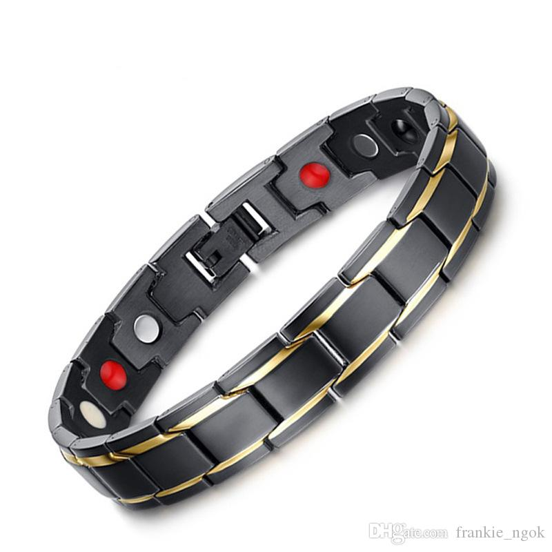 Bijoux en acier inoxydable 316L Santé Énergie Bracelets Bracelet Aimants Bio Bracelet IP Noir Or plaqué 22 cm * 1.2 cm