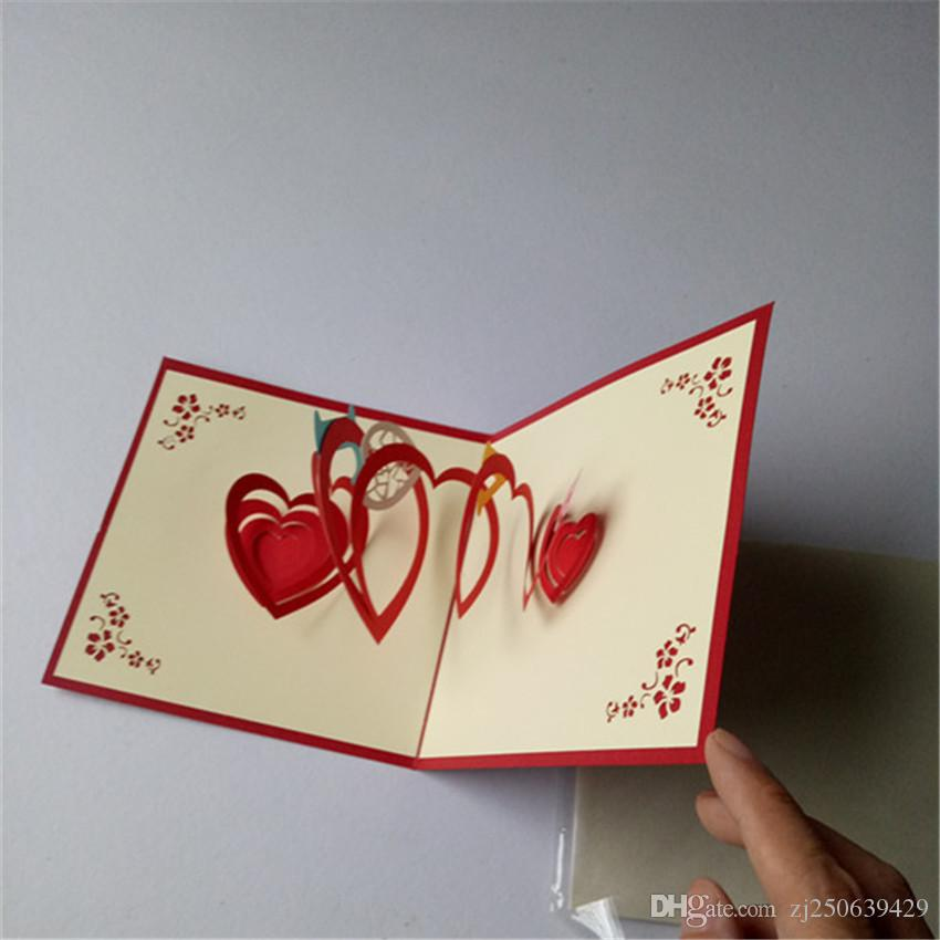 3D Heart Greetin DIY Card Creative Postcard Handmade Gift Party Invitations To Send Their Loved