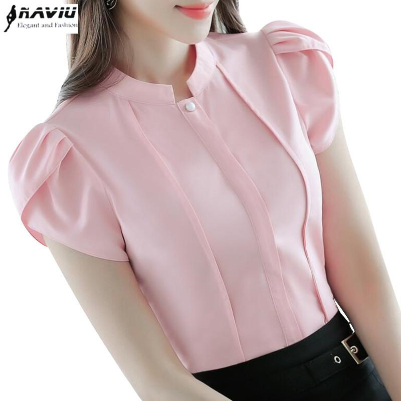 Fashion Stand Collar Women Shirt Ol Office Puff Short Sleeve Chiffon