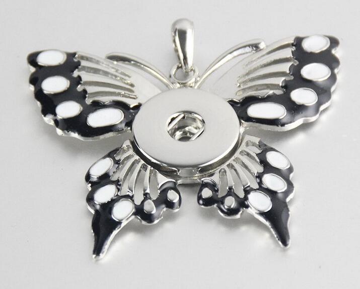 botón de 18 mm a presión botón noosa colgante de esmalte colgante de collar de mariposa blanco y negro 18 MM NOOSA trozos de botón a presión envío de la gota