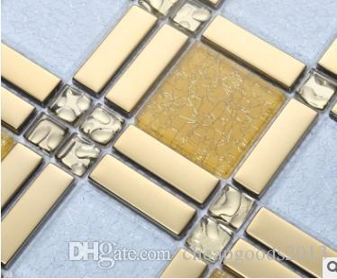 Galvanik kristal mozaik arka plan duvar seramik karo mutfak banyo oturma odası metal dekorasyon yapı malzemeleri D-909 toptan