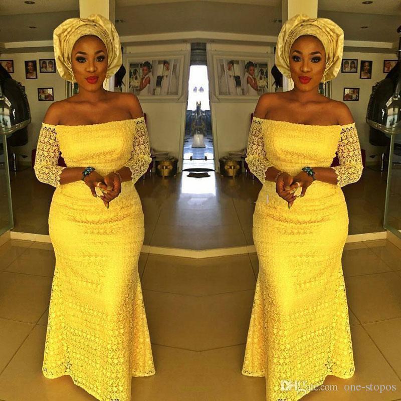Afric jaune dentelle sirène formelle robes de soirée 4 styles 3/4 manches longues bijou décolleté étage longueur robe de bal robes de soirée