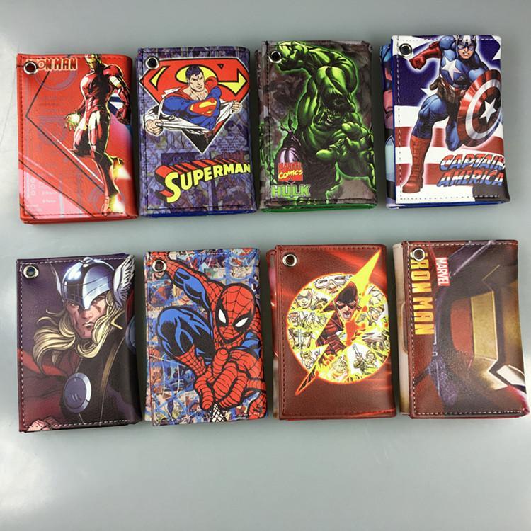 4efd1491f Compre DC Marvel Comics Carteras Iron Man Capitán América Spider Man Hulk  Flash Billetera De Cuero Monedero Moda Bolsos De Tarjetas Para El Regalo  3.5 * 4.5 ...
