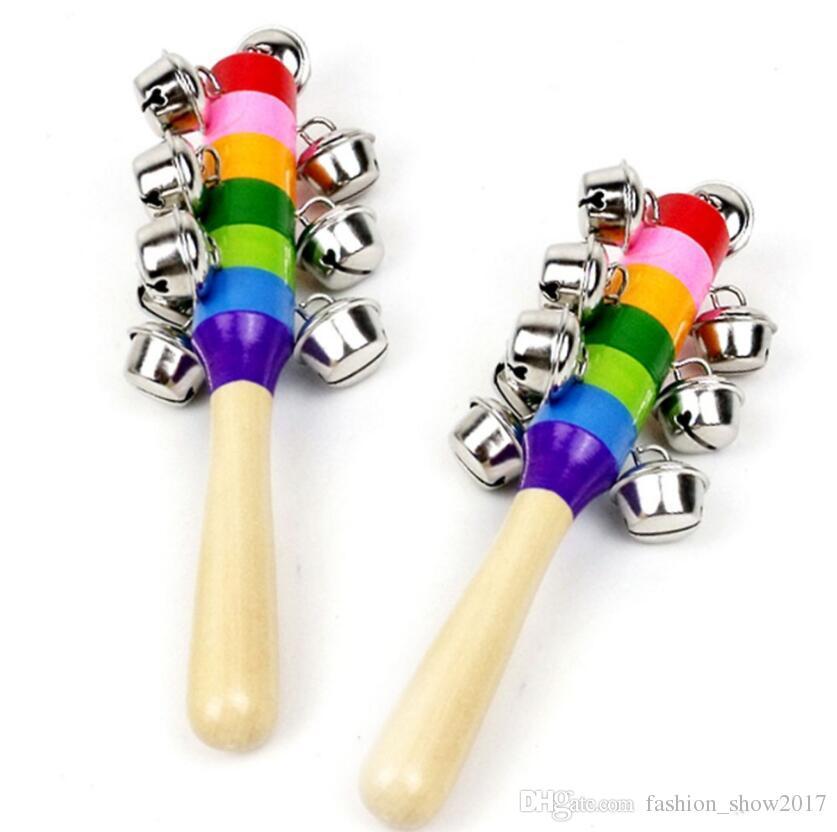 1 adet Ahşap Sopa 10 Jingle Bells Gökkuşağı El Sallamak Çan Çıngıraklar Bebek Çocuk Çocuk Eğitim Oyuncak