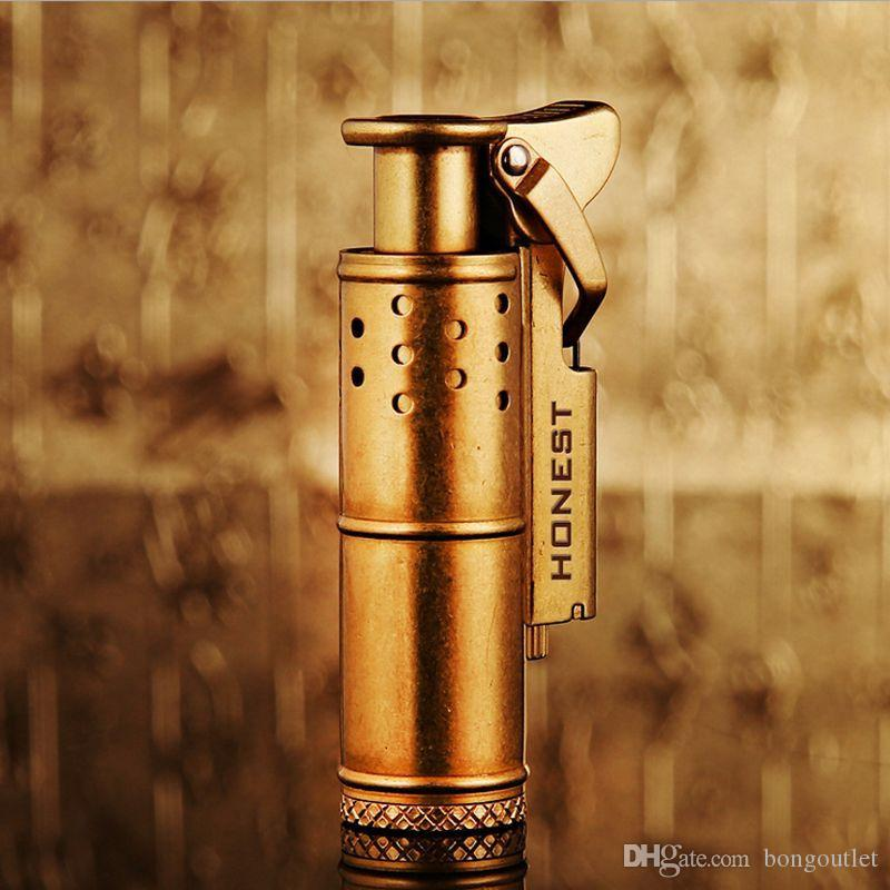 Elegante design elegante ricaricabile ricaricabile onesto accendino retrò puro rame carbone olio sigaro sigillers creativo antivento oro argento color argento