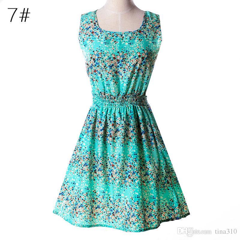 Neueste Mode Frauen Casual Dress Plus Size Günstige China Kleid 19 Designs Frauen Kleidung Mode Sleeveless Summe Kleid Kostenloser Versand