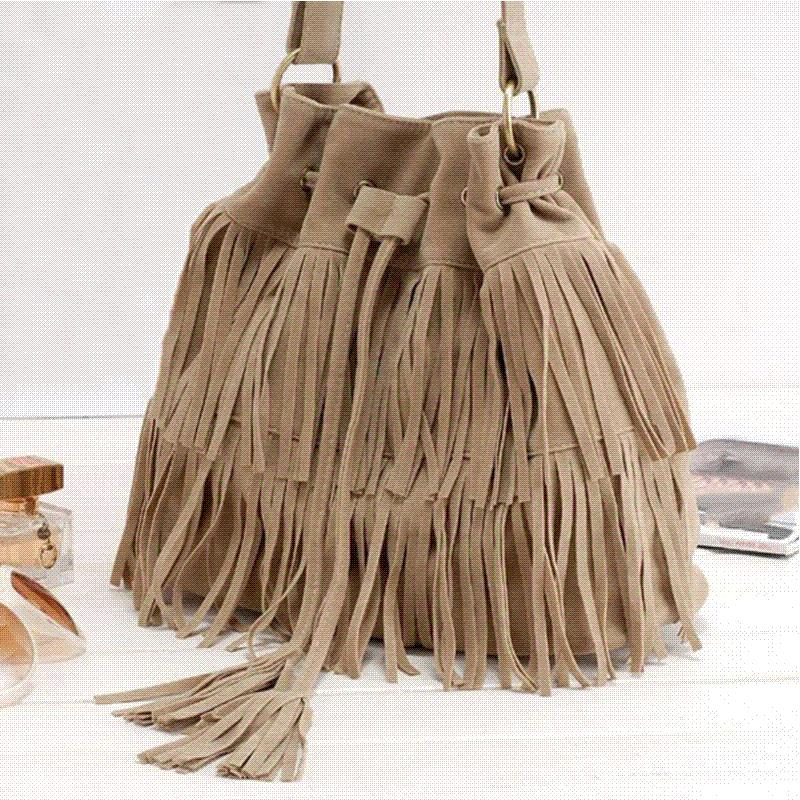 261c550bf3a Suede Drawstring Bucket Bag Women Handbag Faux Fringe Tassel Shoulder  Crossbody Messenger Bag Boho Style Cheap Handbag Stock Designer Bags Hobo  Bags From ...