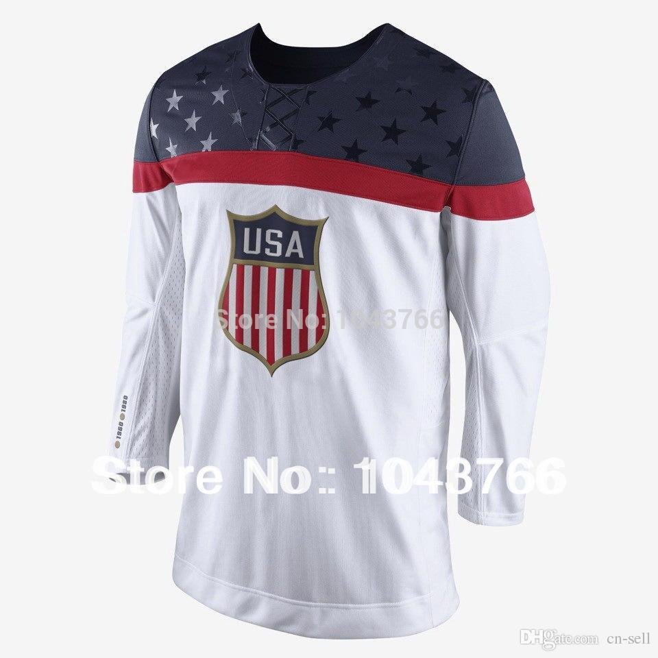 new arrival 37b9b d99fd 2019 Newest 2014 Sochi Olympic Team USA Hockey Jersey White Ice Hockey  Stitched American Team USA Olympic Hockey Jersey From Cn Sell,  37.09    DHgate.Com