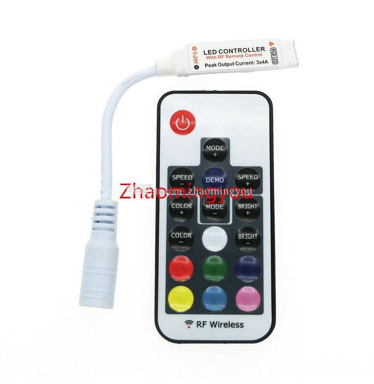 Frete grátis LED Controlador RGB DC12-24V 17key RF Controle Remoto Sem Fio para RGB LED Strip.