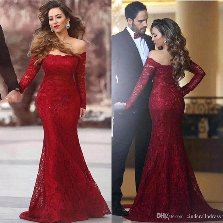 Elegant Off Shoulder Full Lace Evening Dresses 2017 Fall With Long ...