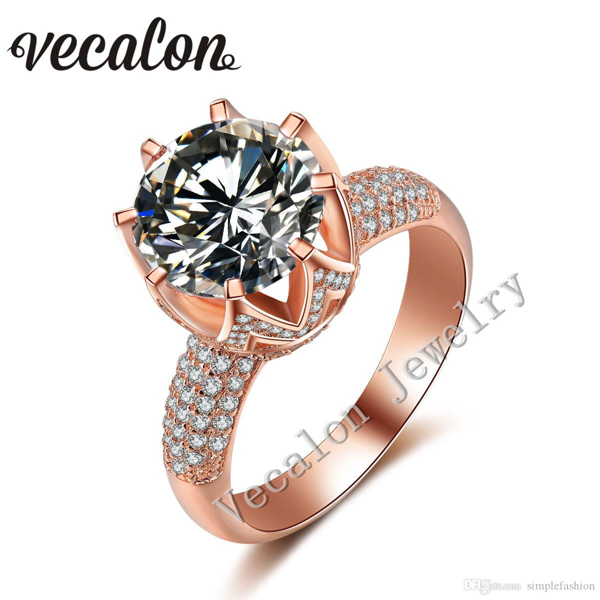 2017 vecalon rose gold wedding ring for women round cut 6ct