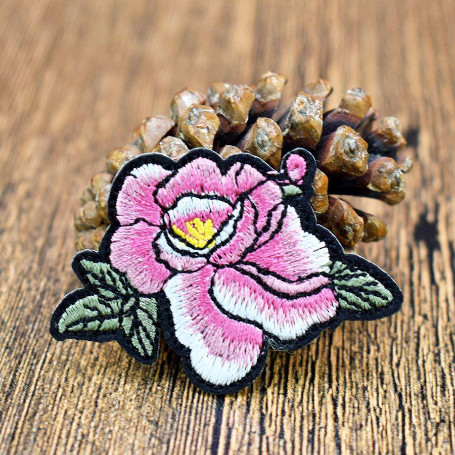 10 pezzi Peony Flower abbigliamento Iron on Transfer Applique Patch maglione cappotto Fai da te su accessori ricamati