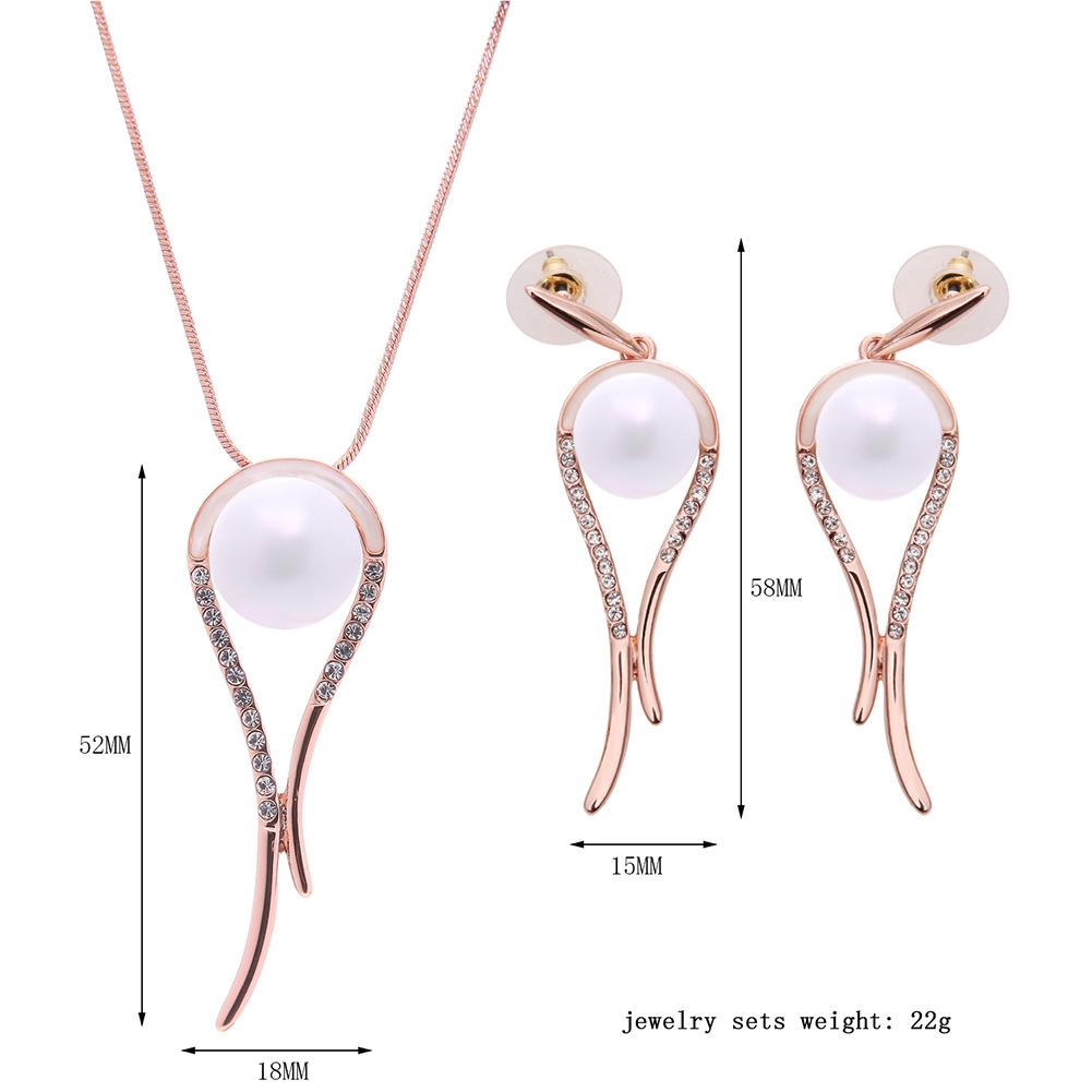 Simple Pearl Necklace Earrings Sets Fashion 18kgp White Pearl Jewelry Set min order 61152218