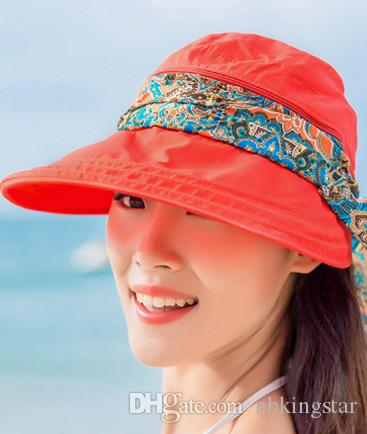 bc1329720 2016 Summer Style Women Foldable Wide Large Brim Floppy Beach Gorro Hats  Chapeu Outdoors Visors Cap Sun Collapsible Anti-Uv Hat 6pcs/lot