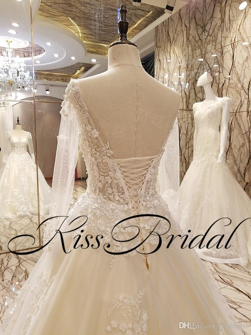 Illusion Dentelle 3D Robes De Mariée Floral Long Court Train De Luxe Arabe Dubaï Robes De Mariée Real Photos