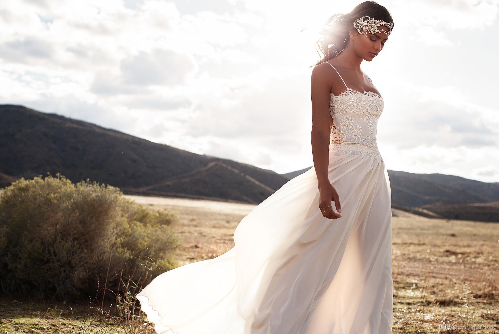 2016 Новые Летние Свадебные Платья Спагетти Ремни Кружева Шифон Длина Пола Трапеция Свадебные Платья Пляж Простой Плюс Размер Дешевые Свадебные Платья